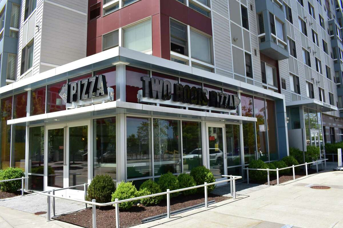 A view of the shuttered Two Boots Pizza restaurant at 717 Atlantic St. in Stamford, Conn., following its closure in early May 2017 less than a year after opening.