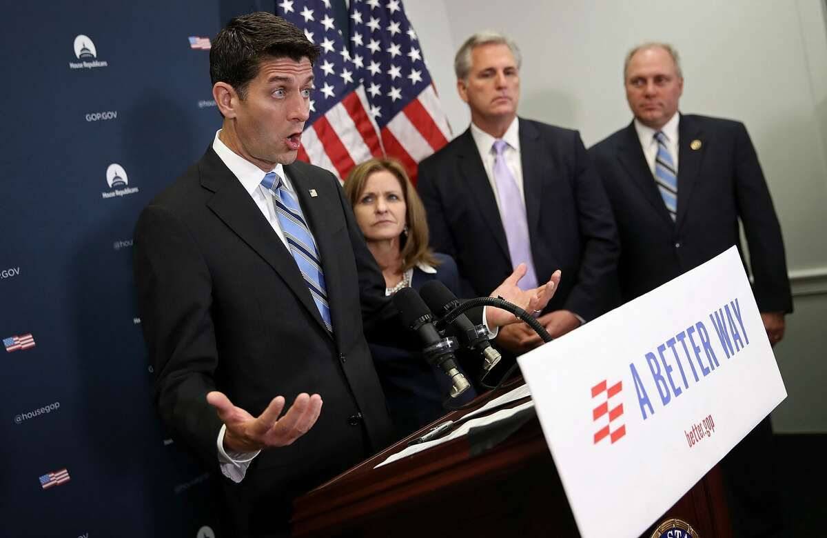 Speaker of the House Paul Ryan (L) (R-WI) answers questions on congressional funding for battling the Zika virus during a press conferece at the U.S. Capitol September 7, 2016 in Washington, DC. The Jon Ossoff ad on a cable car was funded by a Republican Super PAC called the Congressional Leadership Fund, which has ties to House Speaker Paul Ryan.
