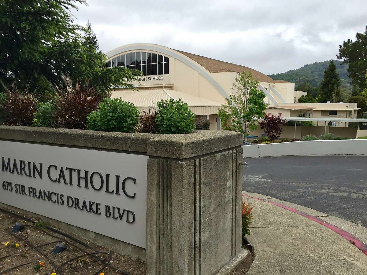 Marin Catholic High School in Kentfield, where school officials have suspended in-person instruction for two weeks following reports of large student parties and sleepovers that compromised the school's attempt to curb the spread of the coronavirus.
