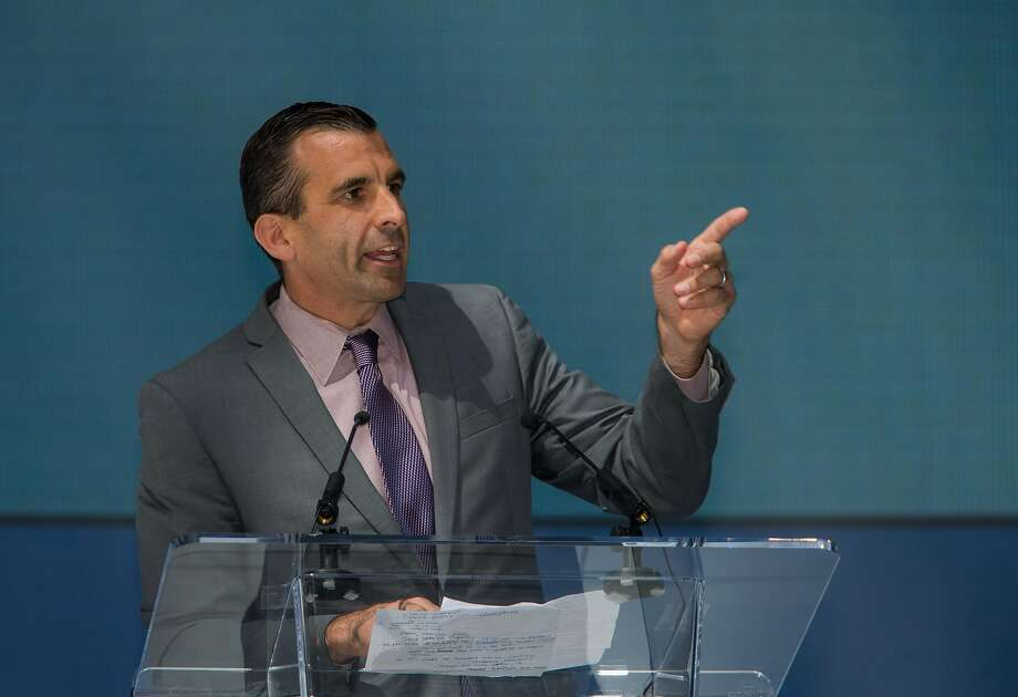 FILE – San Jose Mayor Sam Liccardo addresses the crowd at Samsung's opening ceremonies of a new 1.1 million square foot research and development, sales and marketing center on Thursday, Sept. 24, 2015 in San Jose, Calif. Photo: Nathaniel Y. Downes, The Chronicle