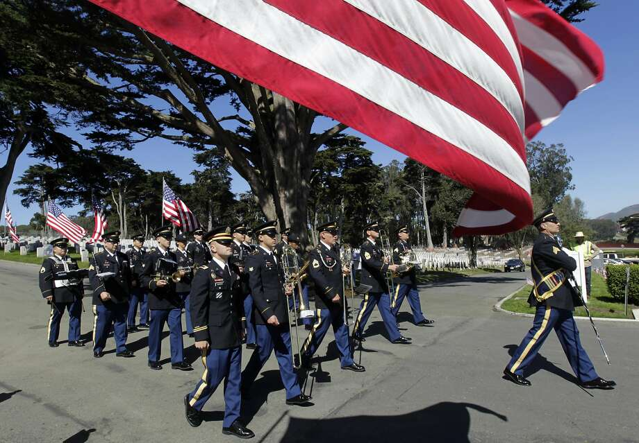 The 191st Army Band takes part in the 2014 Memorial Day ceremony at the National Cemetery in the Presidio. Photo: Paul Chinn, The Chronicle