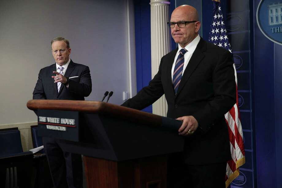 White House Press Secretary Sean Spicer, left, takes questions with National Security Adviser H.R. McMaster on Tuesday at the White House. McMaster downplayed the significance of the information President Trump revealed to the Russians, saying some of it was publicly available. Photo: Alex Wong, Staff / 2017 Getty Images