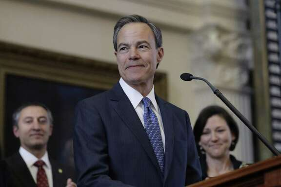 FILE - In this Jan. 10, 2017, file photo, Texas Speaker of the House Joe Straus, R-San Antonio, stands before the opening of the 85th Texas Legislative session in the house chambers at the Texas State Capitol in Austin, Texas. State-funded adoption agencies backing Texas legislation that would sanction the rejection of prospective parents on religious grounds already routinely deny non-Christian, gay, and unmarried applicants because they are wary of their beliefs or lifestyle. But now they also want legal cover in case of potential lawsuits. (AP Photo/Eric Gay, File)