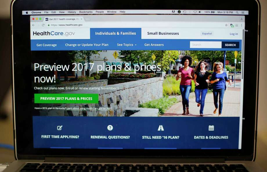 FILE - In this Oct. 24, 2016 file photo, the HealthCare.gov 2017 web site home page is seen on a laptop in Washington. After five consecutive years of coverage gains, progress reducing the number of uninsured Americans stalled in 2016, according to a government report that highlights the stakes as Republicans try to roll back Barack Obama's law. The Centers for Disease Control and Prevention estimated that 28.6 million people were uninsured last year, unchanged from 2015. The uninsured rate was 9 percent, not a significant change from 9.1 percent in 2015. (AP Photo/Pablo Martinez Monsivais, File) Photo: Pablo Martinez Monsivais, STF / Copyright 2016 The Associated Press. All rights reserved.