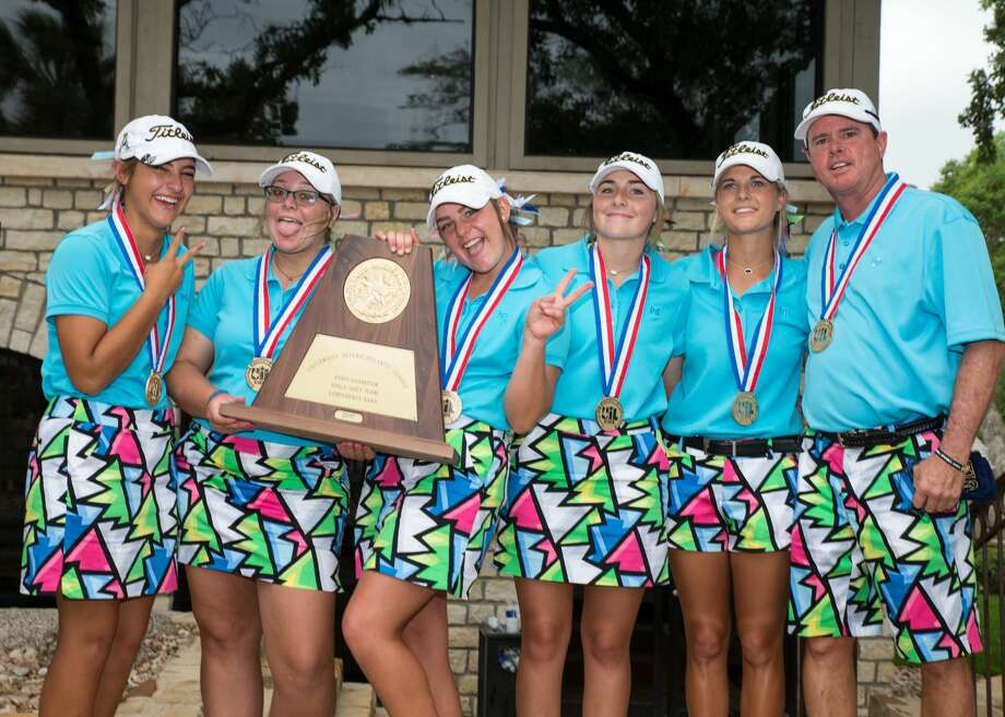 The Andrews Black team secured the school's seventh consecutive girls state golf championship with a two-day total of 648 at the Class 4A girls state golf tournament at Slick Rock Golf Course in Horseshoe Bay, Texas, on Tuesday, May 16, 2017. Photo: Scott W. Coleman