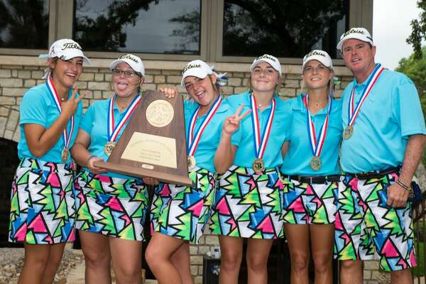 The Andrews Black team secured the school's seventh consecutive girls state golf championship with a two-day total of 648 at the Class 4A girls state golf tournament at Slick Rock Golf Course in Horseshoe Bay, Texas, on Tuesday, May 16, 2017.