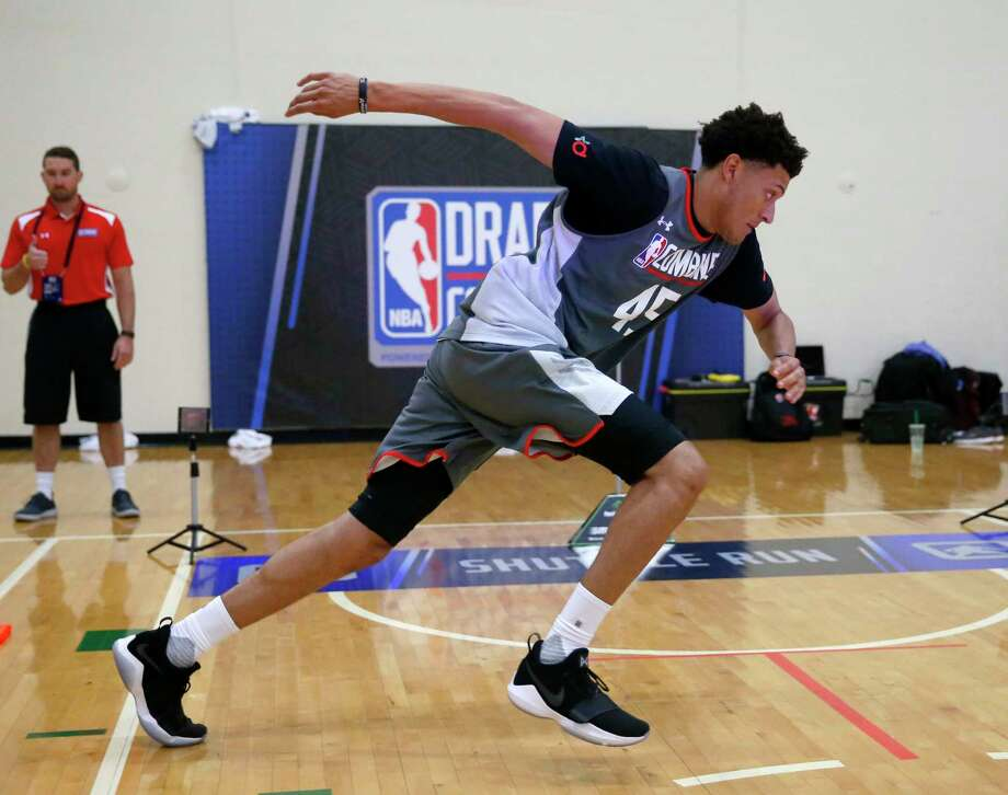Justin Jackson, a North Carolina star by way of Houston, participates in an agility drill at last week's NBA draft combine. Photo: Charles Rex Arbogast, STF / Copyright 2017 The Associated Press. All rights reserved.
