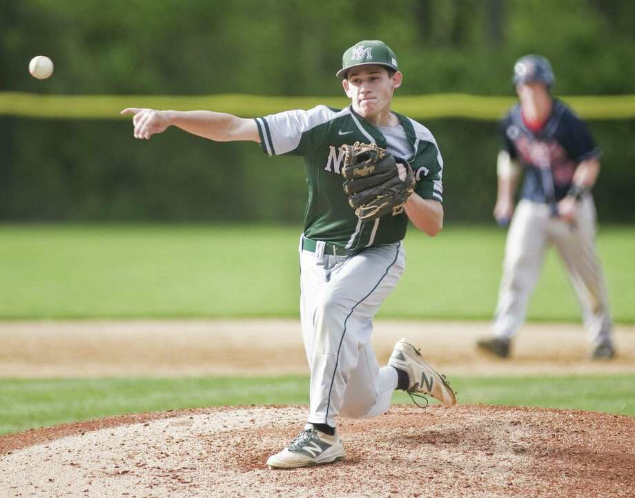New Milford High School pitcher Chris Gesualdi releases the ball in a game against New Fairfield High School, played at New Fairfield. Tuesday, May 16, 2017 Photo: Scott Mullin / For Hearst Connecticut Media / The News-Times Freelance
