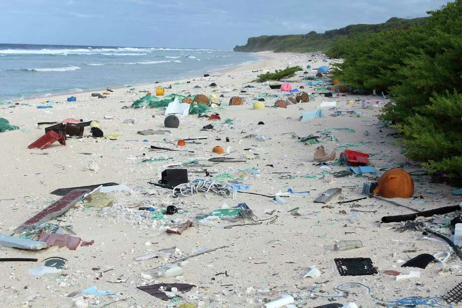 Plastic debris is strewn on the beach on Henderson Island. When researchers traveled to the tiny, uninhabited island in the middle of the Pacific Ocean, they were astonished to find a record-breaking density level of trash. Photo: Jennifer Lavers, HONS / Jennifer Lavers