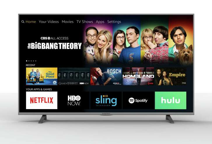 This Element Electronics screen shows streaming services and over-the-air channels. Amazon streaming software will appear on a new line of smart TVs.