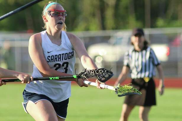 Saratoga's Reilly Hogan scores against Shen during the Suburban Council varsity girls' lacrosse matchup Tuesday, May 16, 2017 at Saratoga Springs High School. (Ed Burke photo- Special to The Times Union)