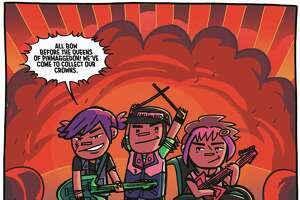 "Meet (left to right) Corey, Coady and Criss, the punk rocking triplets known as The Creepies. The band plays front and center in ""Coady and the Creepies,"" the comic miniseries by San Antonio artist Amanda Kirk and writer Liz Prince."