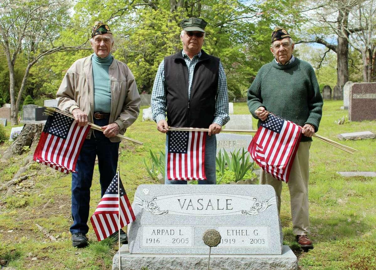 American Legion Post 86 members Bing Ventres, Raymond Tobiassen and Judd Mott at Hillside Cemetery.