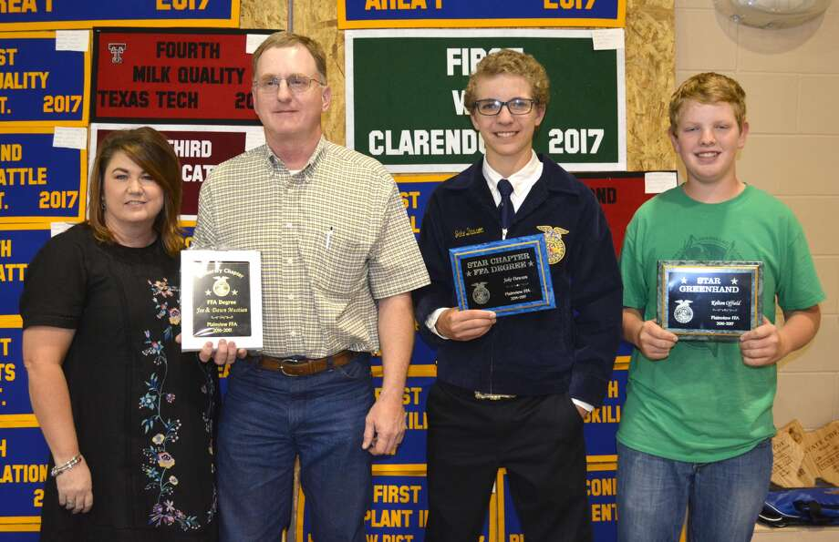 Among those honored Tuesday at the Plainview FFA Awards Program were Dawn and Joe Mustian (left), Honorary Chapter FFA Degrees; Jake Dawson, Star Chapter Degree; and Kelton Offield, Star Greenhand.