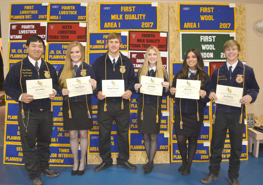 Plainview FFA members who will be graduating this year was awarded scholarships Tuesday during the annual Plainview FFA Awards Program. They include Caden Horton (left), Booster Club Scholarship; Layne Mustian, Gene Barnett Scholarship; Wrangler Haresnape, Booster Club Scholarship; Colti Wright, Mark Marley Scholarship; Shadee The, Booster Club Scholarship; Jace Browning, Hale County Soil and Water Conservation District Scholarship; and not shown, Booster Club Scholarship recipients Sterling Skinner, Dustin Beverage and Angela Banda.