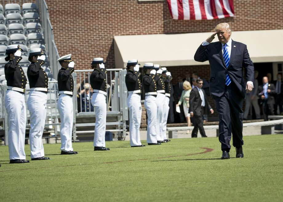 President Donald Trump arrives Wednesday morning for commencement ceremonies at the U.S. Coast Guard Academy in New London, Conn., May 17, 2017. (Doug Mills/The New York Times) Photo: DOUG MILLS/NYT