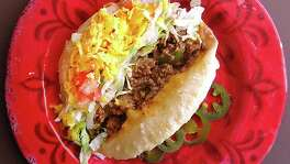 Beef puffy taco from Patsy's Place on West Avenue in San Antonio.
