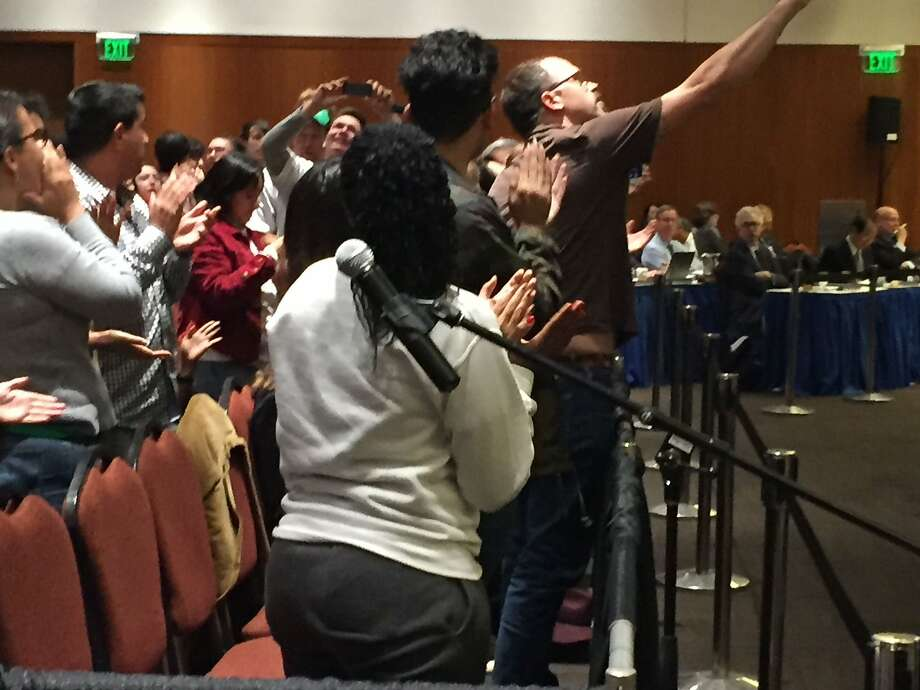 Student protesters shut down the UC Board of Regents meeting in San Francisco on May 17, 2017. Students are angry about revelations that the UC Office of President Janet Napolitano kept $175 million in hidden reserves while raising tuition. The regents are again considering raising tuition in 2018. Photo: By Nanette Asimov, San Francisco Chronicle
