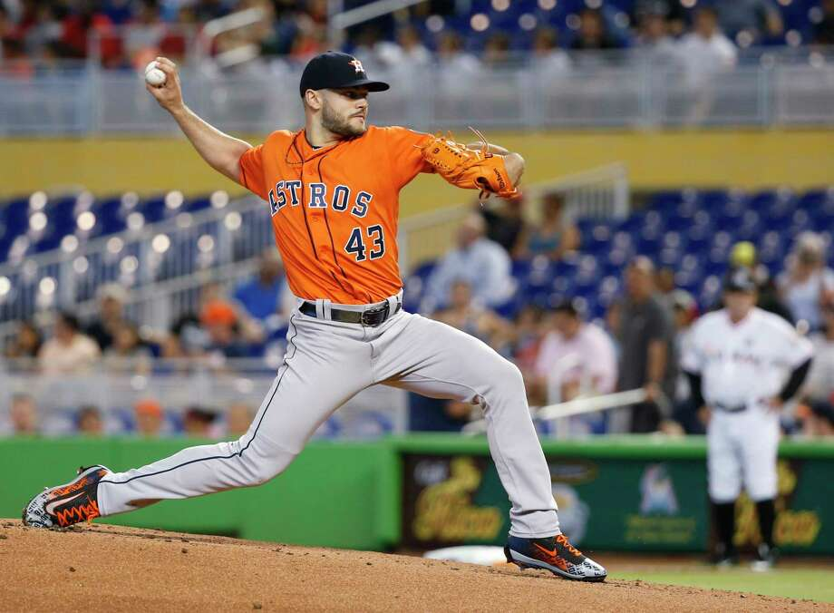 Houston Astros' Lance McCullers Jr. delivers a pitch during the first inning of a baseball game against the Miami Marlins, Wednesday, May 17, 2017, in Miami. (AP Photo/Wilfredo Lee) Photo: Wilfredo Lee, Associated Press / Copyright 2017 The Associated Press. All rights reserved.