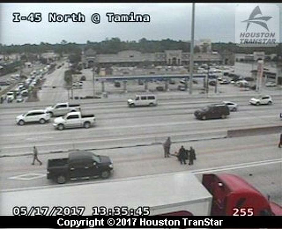 Law enforcement officials are on scene of an auto-pedestrian crash on Interstate 45 North at Research Forest Drive. Photo: Houston Transtar