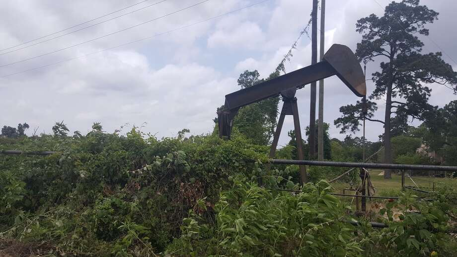 The well, belonging toNoxxe Oil, is reportedly not currently producing, but an estimated 20 to 40 gallons of residual oil leaked into the San Jacinto River before authorities were able to plug the leak Wednesday, May 17 in Forest Cove. Photo: Melanie Feuk