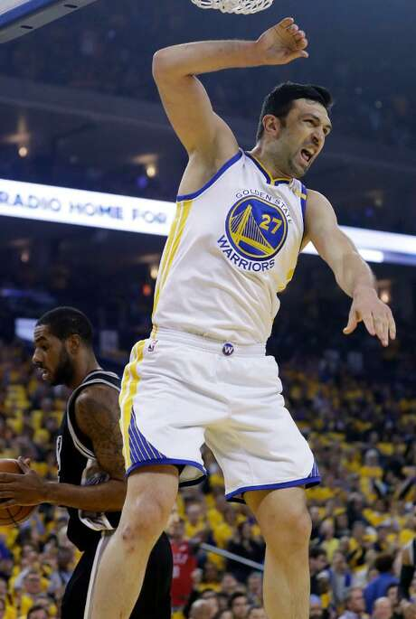 Golden State Warriors' Zaza Pachulia (27) celebrates as he dunks against the San Antonio Spurs during the first half of Game 2 of the NBA basketball Western Conference finals, Tuesday, May 16, 2017, in Oakland, Calif. Photo: Marcio Jose Sanchez /(AP Photo