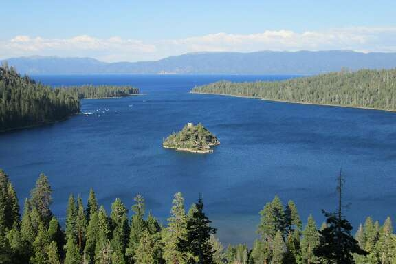 View last Saturday from Highway 89 overlook of Emerald Bay near South Lake Tahoe.
