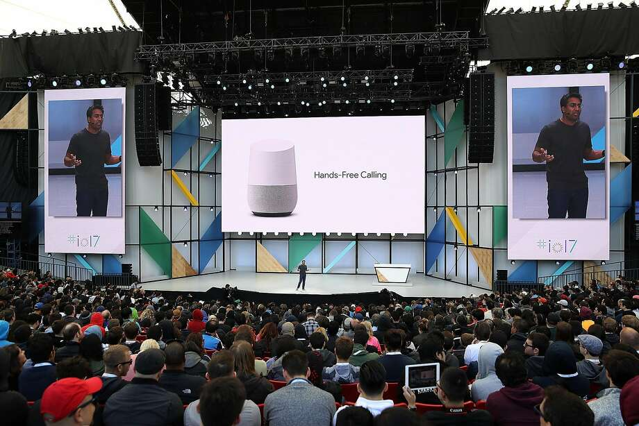 Google Vice President Rishi Chandra speaks during the keynote address at the Google I/O 2017 Conference in Mountain View. He introduced an upgraded Google Home personal assistant that now includes a visual screen and hand-free phone calling. Photo: Justin Sullivan, Getty Images