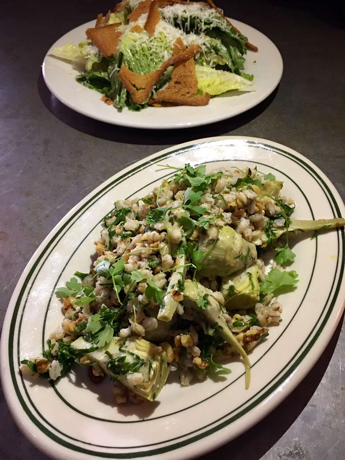 Confit artichoke salad with pearl barley, flax, sunflower seeds and walnuts ($12)