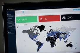 A map compiled by British company Malware Tech displays the geographical distribution of the WannaCry ransomware cyber-attack over the past 24 hours on May 12, 2017, as seen on a computer screen in Portland Ore. (Alex Milan Tracy/Sipa USA/TNS)