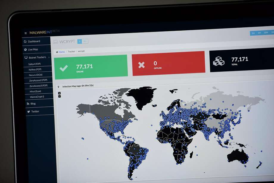 A map compiled by British company Malware Tech displays the geographical distribution of the WannaCry ransomware cyber-attack on May 12, 2017, as seen on a computer screen in Portland. Photo: Alex Milan Tracy, TNS