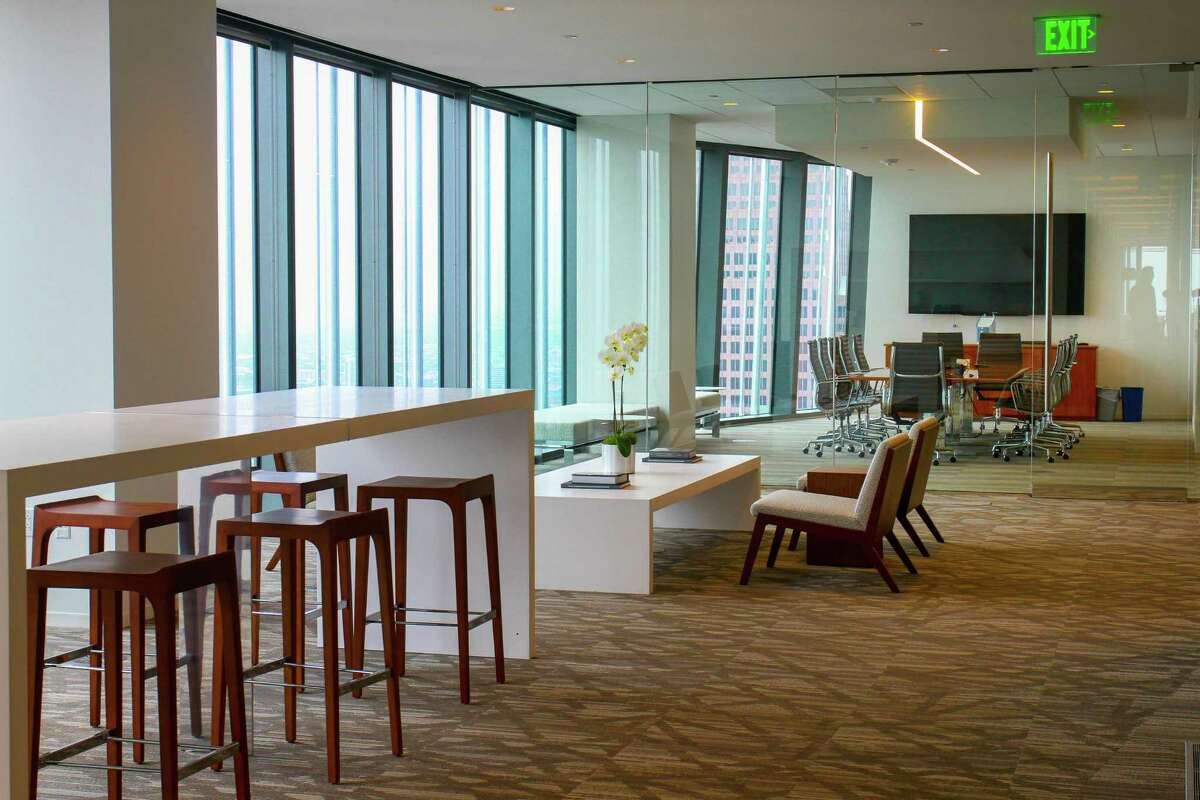 Daylight pours into the the 44th-floor offices of Hines at 609 Main Street.