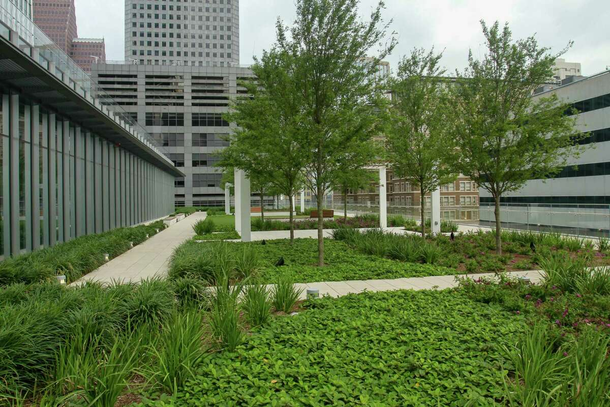 Lush rooftop gardens, designed by the Office of James Burnett, in the new skyscraper at 609 Main Street. These are connected to United Airlines' floors.