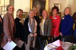 The Litchfield Colonial Dames 17th Century of Connecticut, which serves the Greater New Milford area, recently celebrated three years as a local organized chapter. Pictured above with guest speaker Susan Cheatham, middle, are, from left to right, newly elected members Judy Messer, Arline Bertolami, Paula Vitetta, Kathy McKenna, Kate Sumner, Sandy Ward, Lynn Alexander and Barbara Blair.