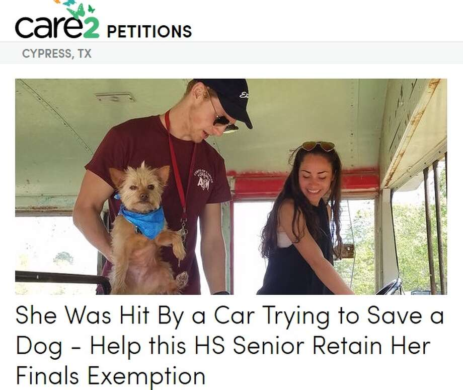 The petition is asking Cypress Ranch High School not to count an absence of a senior who missed a day of school while she was saving her best friend's dog, who was hit by a car on May 8. Photo: Care2
