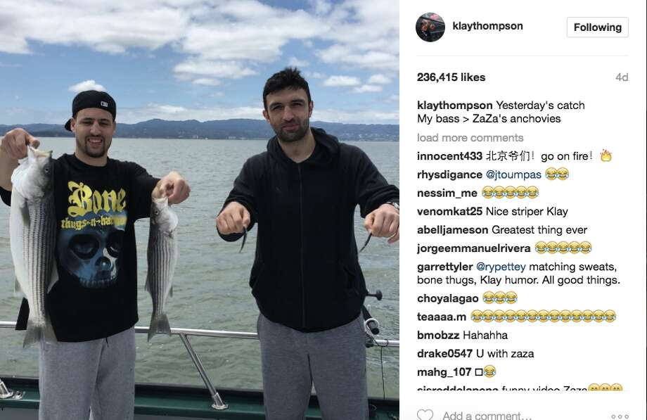 "On a recent off-day, Pachulia and Thompson went fishing on the bay. Klay reeled in some bass; Zaza came home with something a bit smaller. ""Nice photoshop Klay,"" Pachulia commented on the photo. Photo: Screenshot"