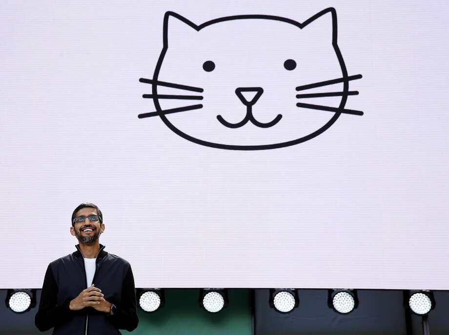 Google CEO Sundar Pichai opens the conference with his keynote speech. He told the audience that artificial intelligence will be the company's new focus. Photo: Paul Chinn, The Chronicle