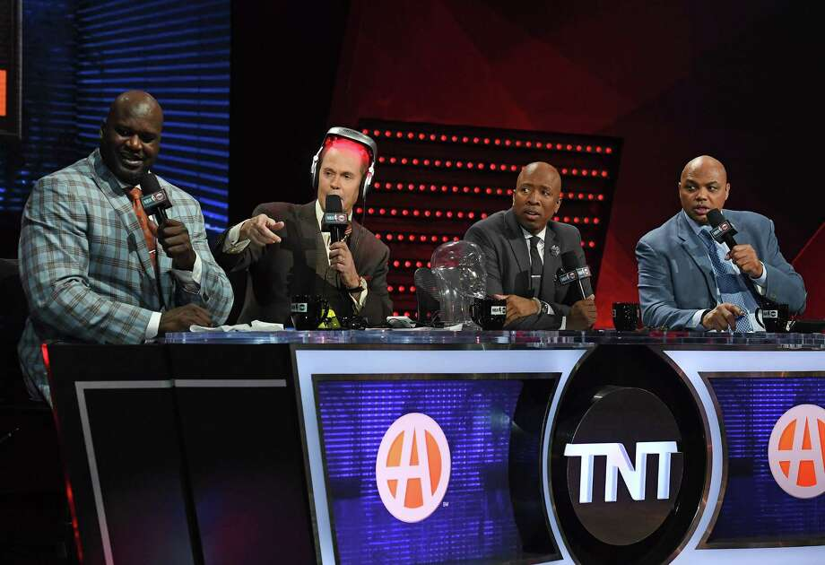 TNT's Inside the NBA team, from left, of Shaquille O'Neal, Ernie Johnson, Kenny Smith and Charles Barkley will be on site during the upcoming Western Conference finals and alreadyhave talked up various Houston eateries. Photo: Ethan Miller / Getty Images, Staff / 2017 Getty Images