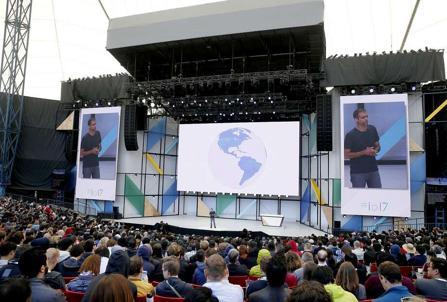 Sameer Samat, VP of Product Management of Android and Google Play, appears on stage during the keynote address of Google I/O conference at the Shoreline Amphitheatre in Mountain View, Calif. on Wednesday, May 17, 2017. Photo: Paul Chinn, The Chronicle
