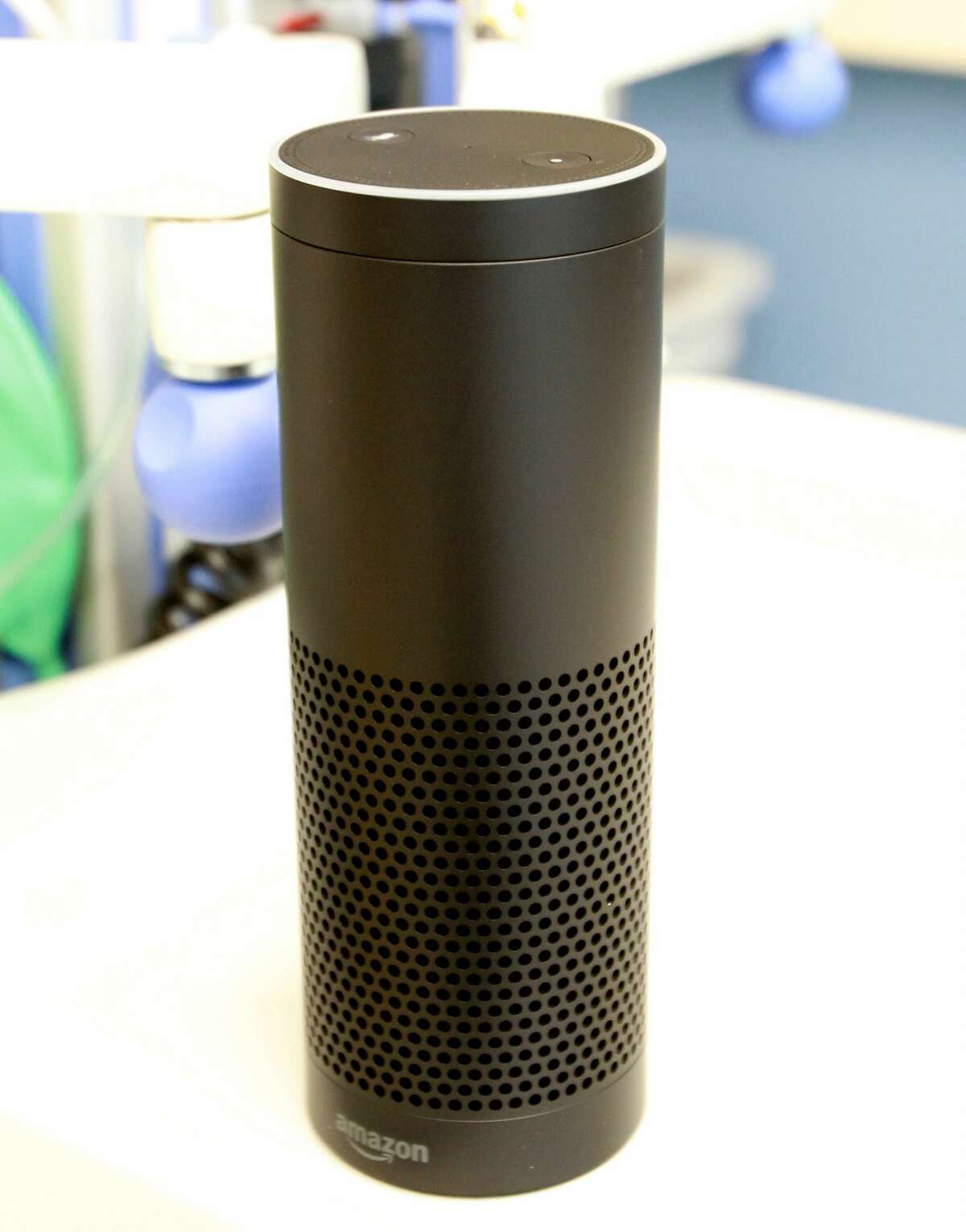 An Amazon Echo that used Amazon's Alexa voice recognition technology.