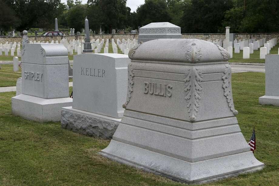 One of the cemetery's tombstones marks the gravesite of General John L. Bullis, the namesake of Camp Bullis on the far North Side. Photo: John Davenport /San Antonio Express-News / ©San Antonio Express-News/John Davenport