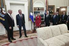 This handout photo was made available by the Russian Foreign Ministry on May 10. The U.S. press was barred from the meeting. It shows President Donald J. Trump and Russian Foreign Minister Sergei Lavrov, second to the left, during a meeting at the White House. At the meeting the president gave classified information to the Russians that he shouldn't have.