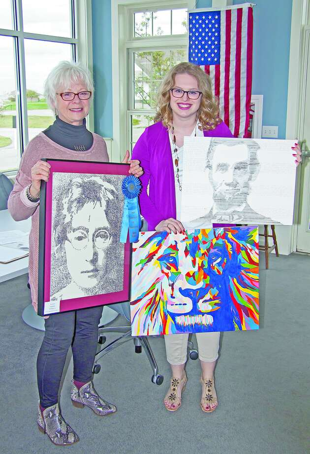 Chelsea Faber and TAG President Donna McCatty display an assortment of Faber's work, including a portrait of musician/singer John Lennon. Photo: Submitted Photo