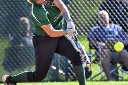 Shenendehowa's #24 Cailey Cuttita hits a two-run double during their 12-1 victory over Troy High Thursday May 11, 2017 in Clifton Park, NY.  (John Carl D'Annibale / Times Union)