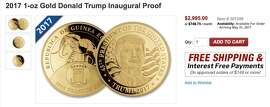 "You read it right: three grand for a ""yuge"" gold coin with Trump's face on it. Goes perfectly with your ""Real Housewives of Miami Beach"" Swarovski-encrusted dentures"