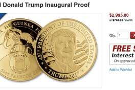 """You read it right: three grand for a """"yuge"""" gold coin with Trump's face on it. Goes perfectly with your """"Real Housewives of Miami Beach"""" Swarovski-encrusted dentures"""