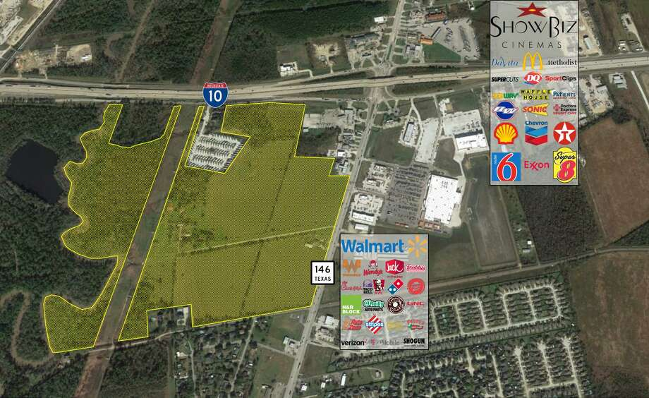 KM Realty has purchased 146 acres known as the Fitzgerald tract at the southwest corner of Interstate 10 and Texas 146. The land has long been targeted as a potential development site, according to KM Realty. Photo: KM Realty