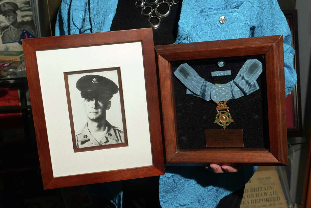 Dennis Shea delivers to City Hall, on temporary loan for this Memorial Day, the Medal of Honor that was awarded posthumously to his brother, Daniel Shea, for his service in Viet Nam Wednesday, May 17, 2017, in Norwalk, Conn.