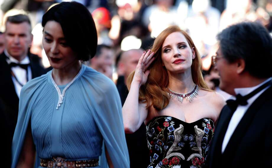 Fan Bingbing, left, and Jessica Chastain pose for photographers upon arrival at the opening ceremony and the screening of the film Ismael's Ghosts at the 70th international film festival, Cannes, southern France, Wednesday, May 17, 2017. (AP Photo/Alastair Grant) Photo: Alastair Grant/AP