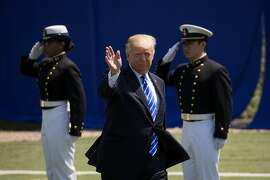 NEW LONDON, CT - MAY 17: US President Donald Trump arrives at the commencement ceremony at the U.S. Coast Guard Academy, May 17, 2017 in New London, Connecticut. This is President Trump's second commencement address since taking office and comes amid cont